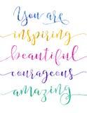 Ty Inspirujesz Piękny odważny zadziwiać Zdjęcia Royalty Free
