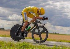 Żółty Jersey- Bradley Wiggins Obraz Stock