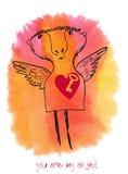Ty jesteś mój aniołem Patroszona karta na akwareli tle Obrazy Stock