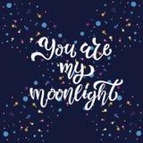Ty jesteś mój blasku księżyca ręką kreślącym piszący list typografię, koszulka projekt Wektorowa ilustracja z bąblem i cometa na  ilustracji