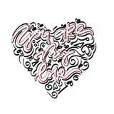 Ty jesteś mój miłości ręka rysującym literowaniem royalty ilustracja