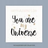 Ty Jesteś Mój wszechświatem - romantyczna wektorowa typografia Fotografia Stock