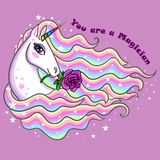 Ty jesteś magikiem Piękny, tęczy jednorożec z różą ilustracji