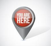 Ty jesteś tutaj pointeru locator ilustracyjnym projektem Fotografia Royalty Free