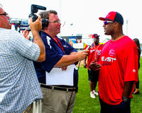 Ty Law interviewed. Stock Photos