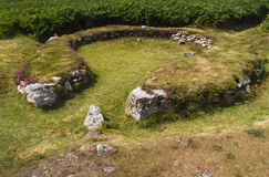 Ty Mawr Ancient Hut Circle on Holyhead, Anglesey Royalty Free Stock Photography