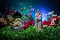 Ty poślubiasz ja? Walentynka dnia grafiki dekoracja Piękna panna młoda z sercem przeciw zmrokowi tonował tło Walentynki powitanie zdjęcie royalty free