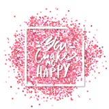 Ty robisz ja Szczęśliwemu tekstowi wiadomość wystrzelona blisko miłości, Różowi confetti wewnątrz w białego kwadrata ramie Romant royalty ilustracja