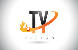 TY T Y Letter Logo with Fire Flames Design and Orange Swoosh. TY T Y Letter Logo Design with Fire Flames and Orange Swoosh Vector Illustration Stock Image