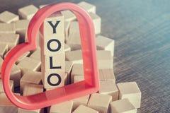 Ty Tylko Żyjesz Once wiadomość tworzącą z drewnianymi blokami (YOLO) Obraz Royalty Free