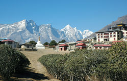 Tyangboche village in the Himalaya Royalty Free Stock Photo