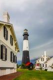 Tybee-Insel-Strandleuchtturm mit Donner und Blitz Stockbilder