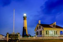 Tybee-Insel-Strandleuchtturm mit Donner und Blitz Lizenzfreies Stockbild