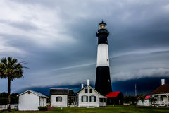 Tybee island beach lighthouse with  thunder and lightning Stock Image