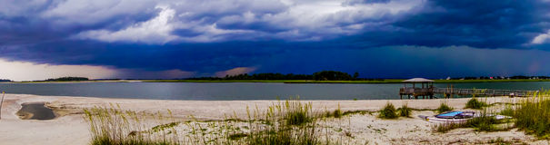 Tybee island beach  scenes during rain and thunder storm Royalty Free Stock Images