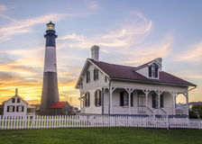 Tybee Island Lighthouse Sunset Atlantic Ocean Georgia stock photos