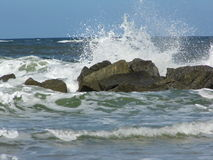 Tybee Island Surf. Atlantic Barrier Islands and Their Beaches Stock Photos