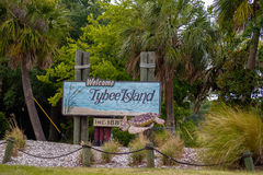 Tybee island welcome greeting sign Royalty Free Stock Photo
