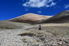 Tybet, Chiny, Czerwiec, 12, 2018 Lato krajobraz przy wysokością więcej niż 5000 metrów Na sposobie źródło Ind rzeka w T fotografia stock