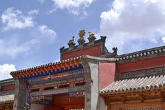 Tybetański Buddyjski monaster w niebieskim niebie Zdjęcie Stock
