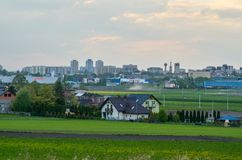 View on Tychy City in Poland. TYCHY, POLAND - APRIL 25, 2018: View from the outskirts of the city on the city of Tychy, Poland Royalty Free Stock Image