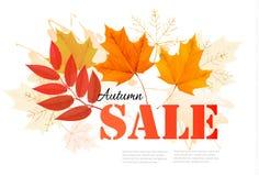 Tyck om det Autumn Sales banret med höstsidor stock illustrationer