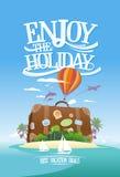 Tyck om ferien, loppadvertizingdesign med den enorma resväskan på en tropisk ö royaltyfri illustrationer