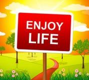 Tyck om livshower Live Joyful And Happiness royaltyfri illustrationer