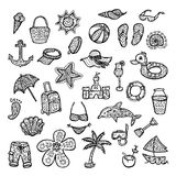 Tyck om sommarferier inställda strandsymboler Fotografering för Bildbyråer