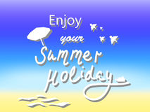 Tyck om vykortet för vektorn för sommarferie, vektorillustration med text för sommarsemestersäsong, Arkivbild