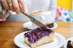 Tycka om fruktkakan och kaffe i kafé Royaltyfri Fotografi