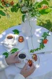 Tycka om kaffetid i trädgården arkivfoton