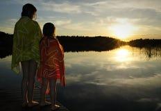 tycka om solnedgång Arkivfoto