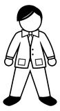Tycoon black & white. Cartoon illustration of a tycoon Stock Photography
