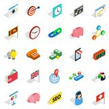 Tycoon icons set, isometric style. Tycoon icons set. Isometric set of 25 tycoon vector icons for web isolated on white background Royalty Free Stock Photos