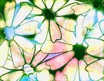 Tye dye daisy. Rainbow tye dye daisy illustration with watercolor effect Stock Photography