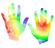 Tye Dyed Watercolor Hand Print. A clip art illustration of a set of hands in tye dyed watercolor style colors isolated on white background vector illustration