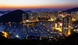 Tyfonskydd i Hong Kong Arkivfoton