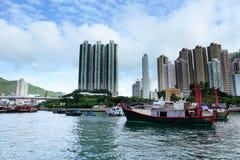 Tyfonskydd i Hong Kong, aberdeen Arkivfoto