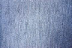 Tyg från bomull som är naturlig, jeans, närbild Royaltyfria Bilder