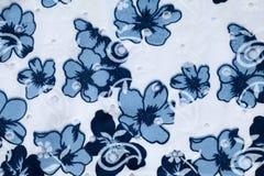 Tyg för tappningvit- och blåttbomull Royaltyfri Foto