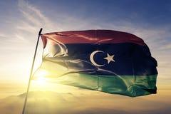 Tyg för torkduk för Libyen nationsflaggatextil som vinkar på överkanten vektor illustrationer