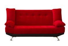 tyg modren den röda sofaen Royaltyfri Fotografi