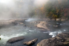 The Tygart River cascades over rocks at Valley Falls State Park Stock Images
