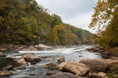 Free Tygart Valley River Surrounded By Trees At Daylight In The Valley Falls State Park, West Virginia Stock Photo - 184273330