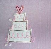Tygbröllopstårta Arkivbild