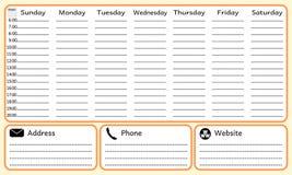 Tygodnia planistyczny notatnik Obraz Royalty Free