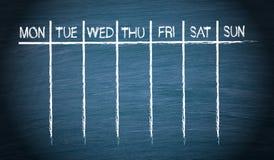 Tygodniowy kalendarz Zdjęcie Stock