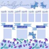 Tygodniowy planista z dekoracyjnymi kwiatami i motylami royalty ilustracja