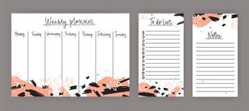 Tygodniowy planista z tygodni dniami, prześcieradło dla notatek i robić lista szablonom dekorował z abstrakcjonistycznymi kolorow Obrazy Stock